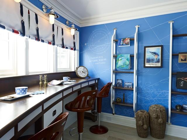 Морской стиль в дизайне штор